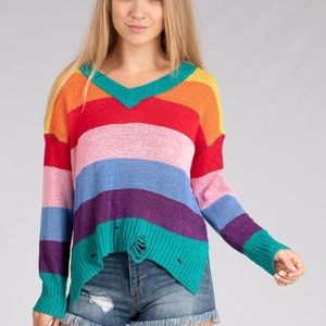 Rainbow Distressed Sweater